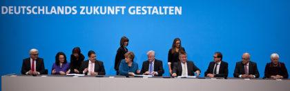 Unterzeichnung des Koalitionsvertrages in Berlin zwischen CDU/CSU und SPD.