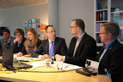"""Die """"Digitale Fachkommission Pflege"""" tagte erstmals mit Jens Spahn im Konrad-Adenauer-Haus. Interessierte Mitglieder konnten sich online zuschalten. (Foto: Pfeffermann)"""